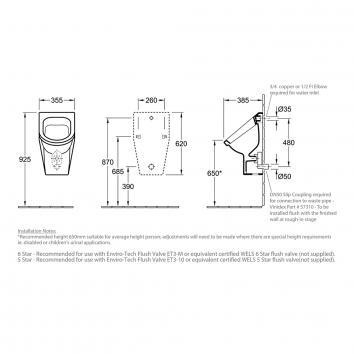 V&B1925 55742001PB Villeroy & Boch Urinals Toilets Spec sheet