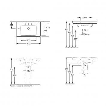 V&B21875 71758001TB Villeroy & Boch Wall Basins Basins Spec sheet