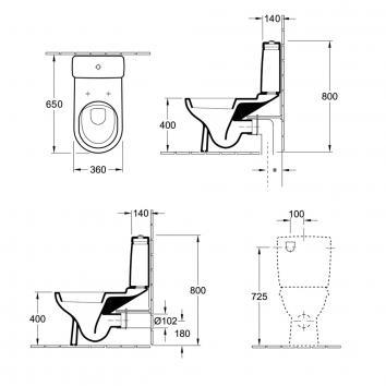 V&B22100 56580101S4DB Villeroy & Boch Back to Wall Toilets Spec sheet