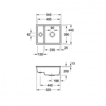 V&B6020 675801R1CB Villeroy & Boch Undermount Sinks Spec sheet