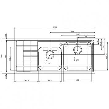 ABEY11450 LEV175R Abey Single + Utility Bowl Sinks Spec sheet