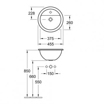 V&B18760 51404001SDL Villeroy & Boch Drop In Basins Basins Spec sheet