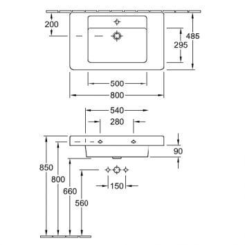 V&B211401 61168001SDRCB Villeroy & Boch Wall Basins Basins Spec sheet