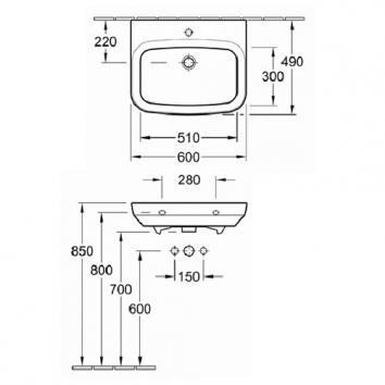 V&B2567 51436001SDL Villeroy & Boch Wall Basins Basins Spec sheet