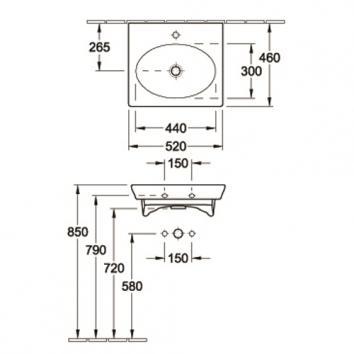 V&B5223 7324G0R1SDLCB Villeroy & Boch  Basins Spec sheet