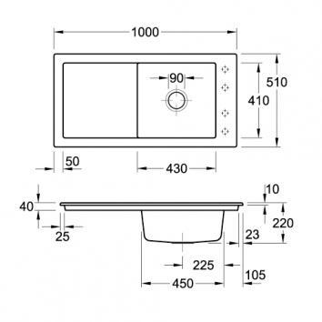 V&B6095 679001R1SDB Villeroy & Boch Overmount Sinks Spec sheet